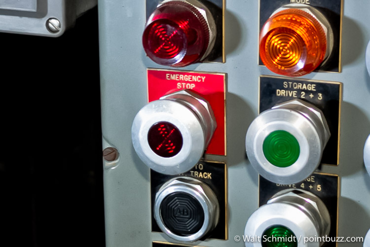 Emergency stop button on Disaster Transport